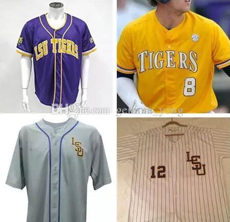 940a30d69 2019 Fashion LSU Tigers College Baseball 8 Alex Bregman Purple Gold White  Yellow DJ LeMahieu Nola Gausman Stitched Jerseys Cheap From Gemma yong