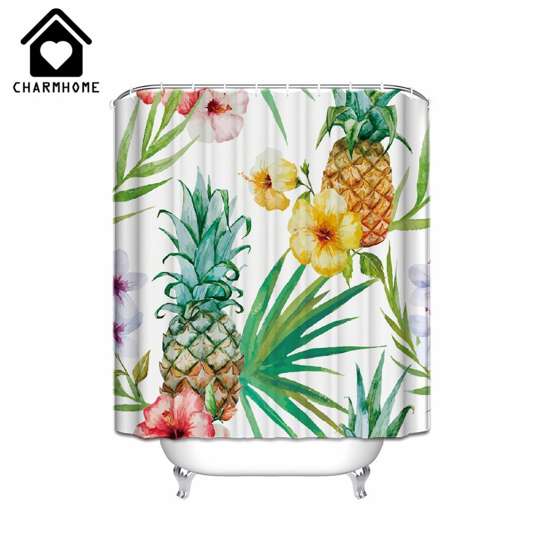 2019 CHARMHOME Pineapple Fruit Printing Shower Curtain Fabric Waterproof Polyester Bathroom Products Clear With Hooks From Miniatur