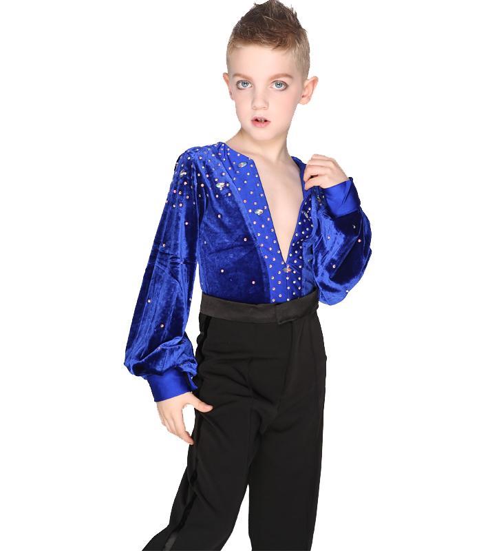 99768ee7b4 2019 Boys Long Sleeve Latin Dance Shirts Leotard Ballroom Dance Tops High  Grade Velvet Drill Latin Shirt From Liangcloth