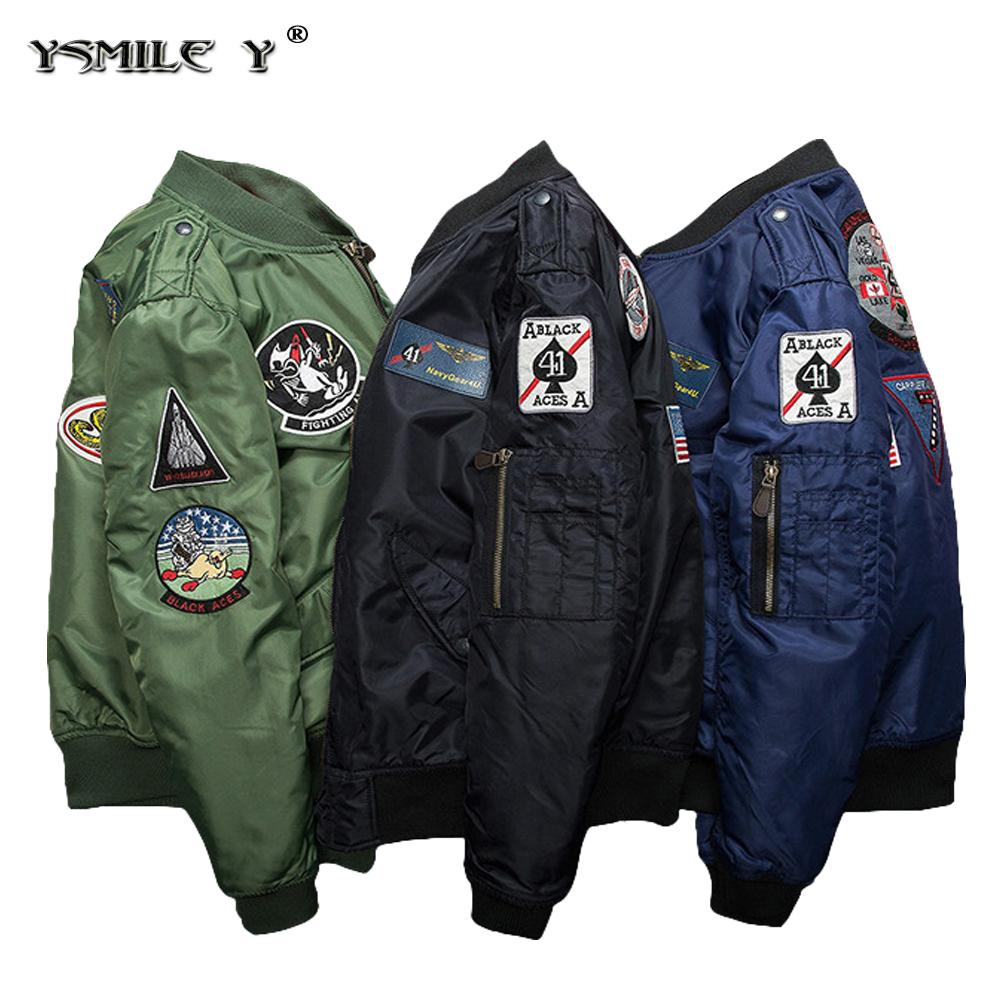 Fashion Men Ma1 Flight Bomber Thicker Cotton Jacket Embroidery Patch Jaket Boomber Blue Navy Badge Padded Coat Black Army Green Fall Mens Jackets From Lucu