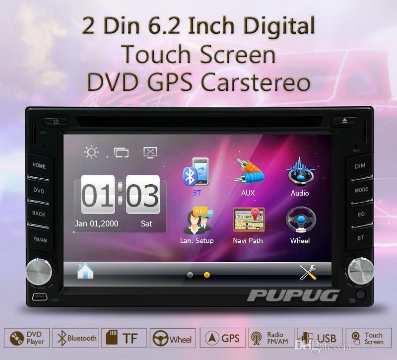 6.2'' Double din 2din Car radio In Dash GPS navigation Car DVD CD Player support Bluetooth FM AM Autoradio Stereo Radio+rearview CAMERA