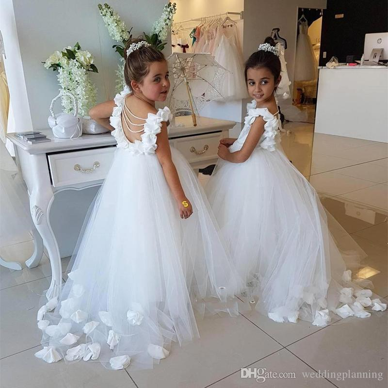 2019 Tulle Hand Made Flower Long Girls Pageant Dresses Lovely White Lace Upper Flower Girl's Dresses Backless Kids Formal Party Gown