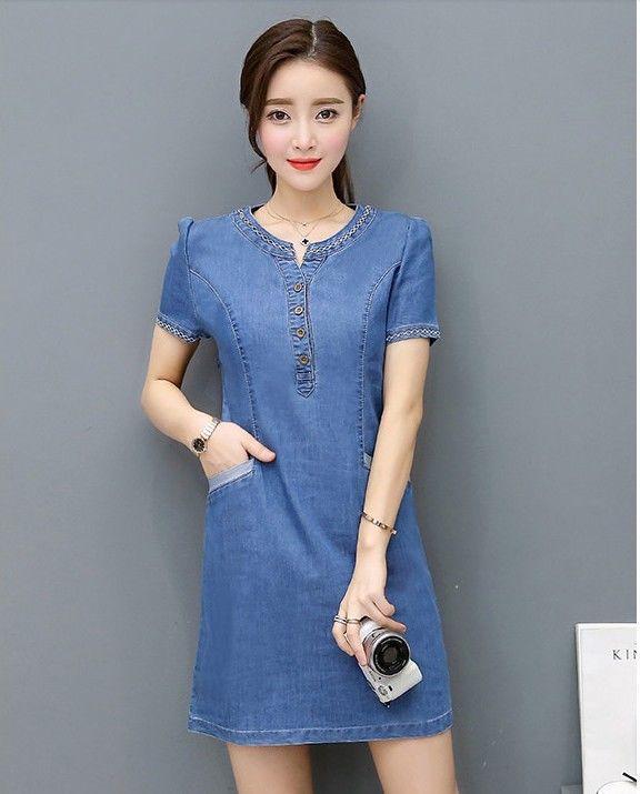 48c2bdcd881 Chic Korean Fashion V Neck Short Sleeve A Line Wrap Hip Denim Jean Summer  Dress Cotton Dress Womens Dress From Angelsdress