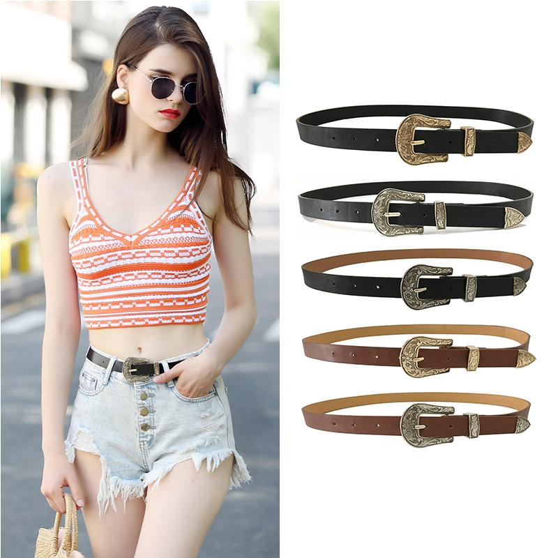3eb1b6e5cb5bb Seabigtoo Retro PU Leather Belts For Women Vintage Metal Buckle Black Belts  Strap Waist Designer Female Women Fashion 2018 Waist Belt V Belt From  Boiline