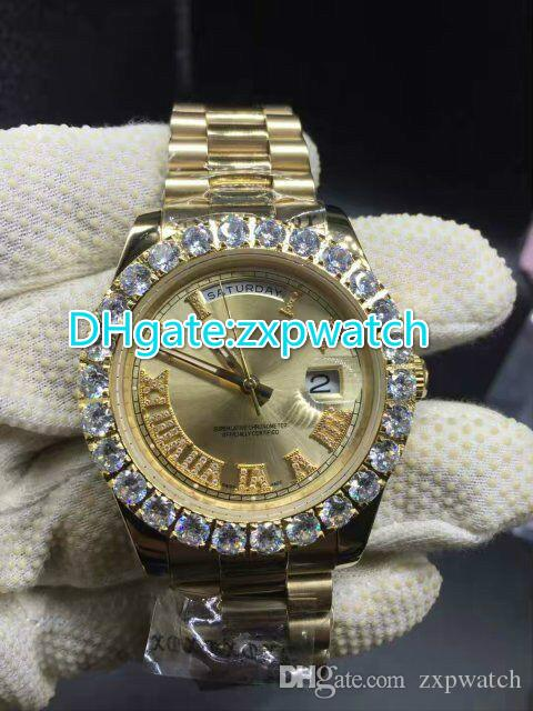 Prong set diamonds bezel watch automatic mens luxury gold 42mm case (gold .red) face Roman markers date gold big diamonds watches