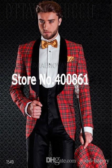New Design Flower square lattice Shawl Lapel Wedding Men Suits Groom Tuxedos Men Party Groomsmen Suits Jacket+Pants+Tie+Vest NO:126