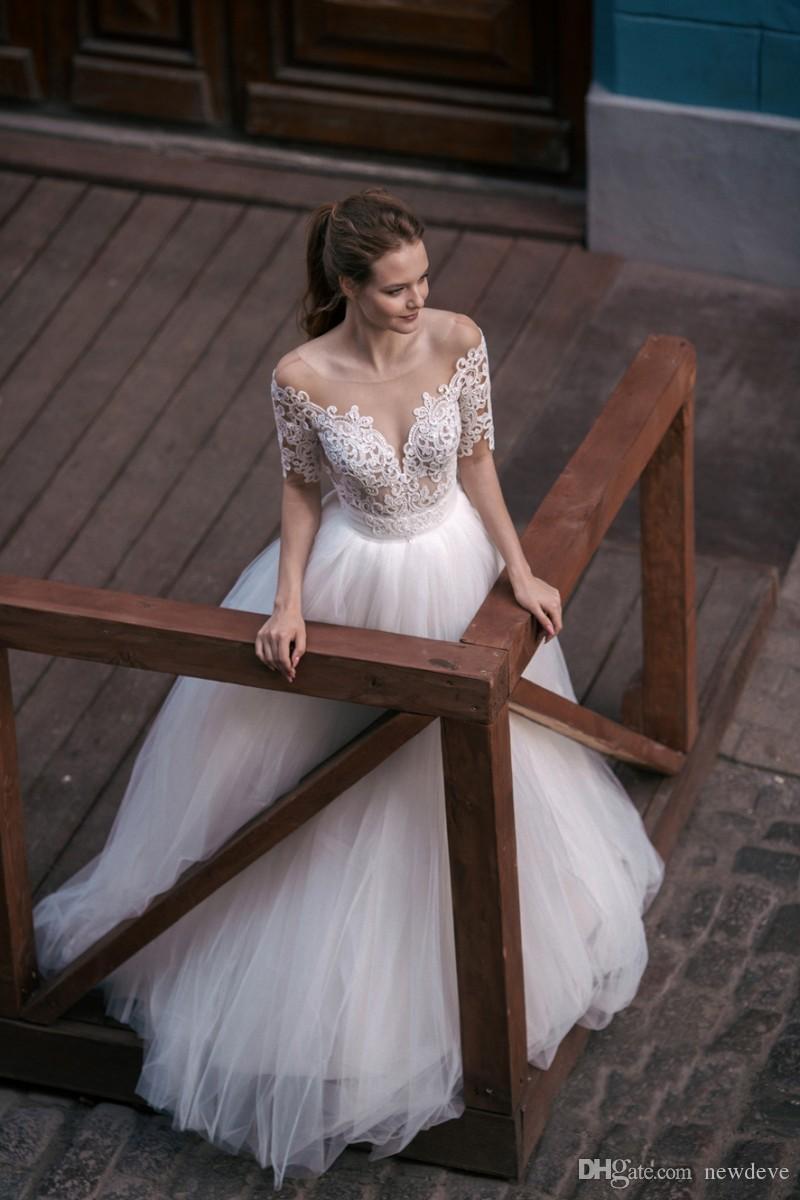Милва Кружева бальное платье свадебное платье ню сексуальные прозрачные шеи свадебные платья бидальные платья с рукавами