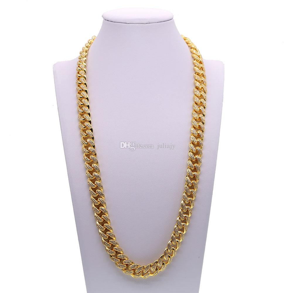 2018 New Hip Hop Men Copper Curb Cuban Chain Necklace Bling Iced Out ... 5d4361bfc8fe