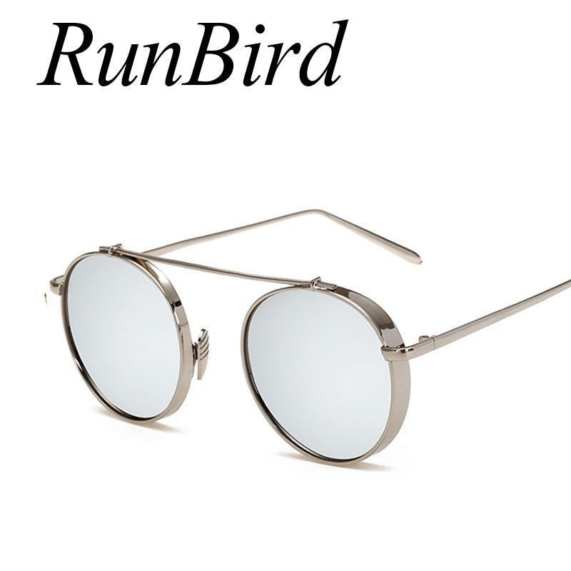 5fd08845d Compre RunBird Steampunk Óculos De Sol Dos Homens Óculos De Sol Para  Condução Rodada De Metal Grosso Quadro De Óculos De Sol Das Mulheres  Revestimento Lente ...