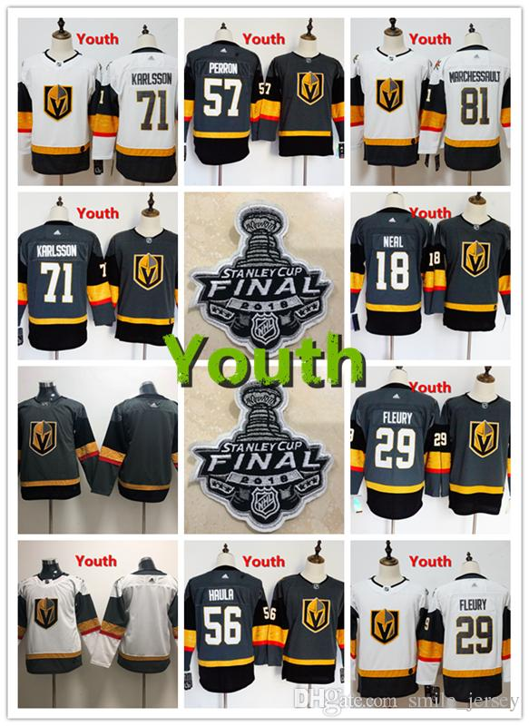 9b540ae0d 2019 Youth Vegas Golden Knights Hockey Jerseys 18 James Neal 29 Marc Andre  Fleury 57 David Perron 56 Erik Haula 81 Marchessault 71 Karlsson From  Gogo space