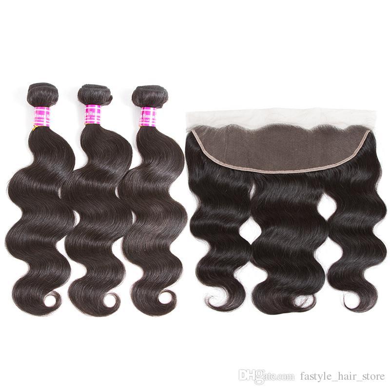 Brésilien Vierge Human Hair Bundles Fermeture Straight Deep Body Water Waoue Kinky Curly Oreille à oreille en dentelle frontale avec 3 bundles Extensions de cheveux