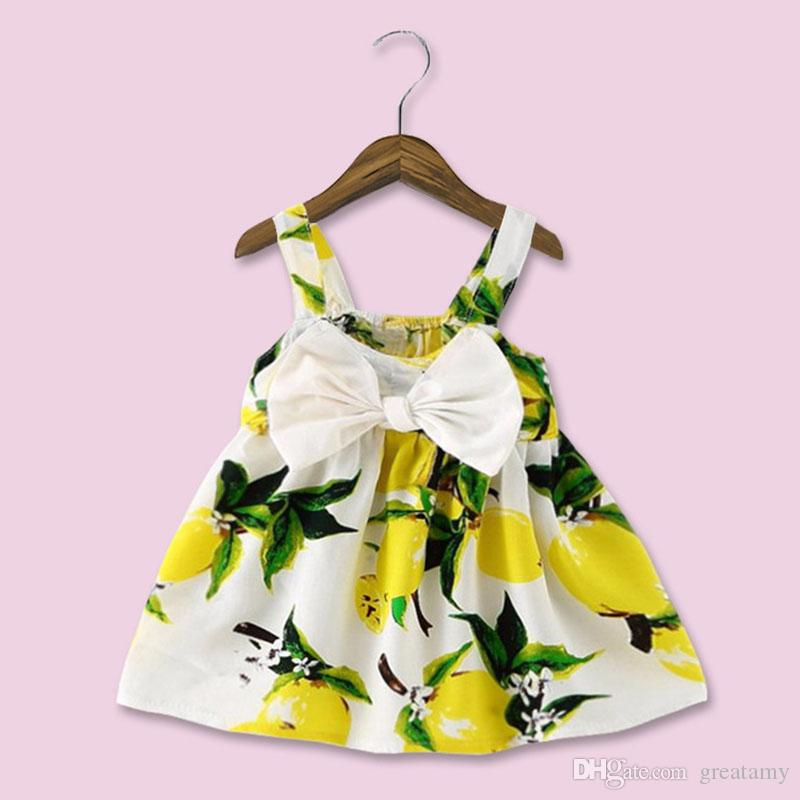 2018 New Baby Infant Girl Dresses Fashion Print Clothes Sleeveless Slip Dress Princess Birthday Girls Dress Summer Pink Yellow