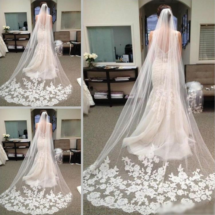 2018 Bridal Accessories Wedding Dresses Veils White Ivory Beautiful Cathedral Length Lace Edge Long Bride Veil New Cheap Bridal Accessory