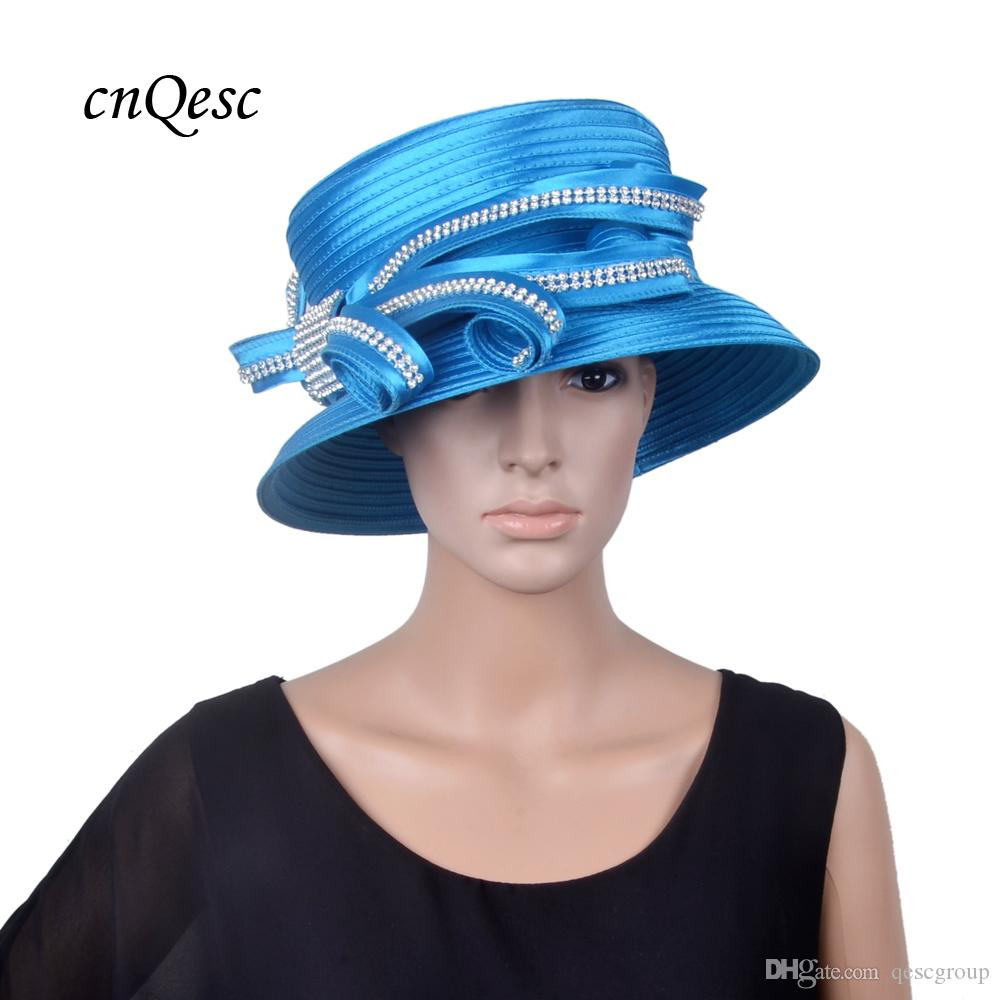 ab4cf978e2b NEW ARRIVAL Blue Formal Church Hat Kentucky Derby Hat Satin Hatinator Royal  Wedding Hat With Rhinestones Black And White Wedding Hats Blue Wedding Hat  From ...