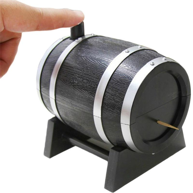 2018 Hot Plastic Toothpicks Holder Toothpick Dispenser French Oak Wine Barrel Shape Toothpick Holder Automatic Box