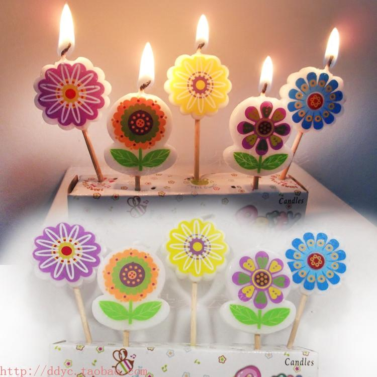 2019 5 Pack Flowers Birthday Candles High Quality Cartoon Flower ChildrenS Children Cake Decoration Plant PARTY From Miniatur 2108