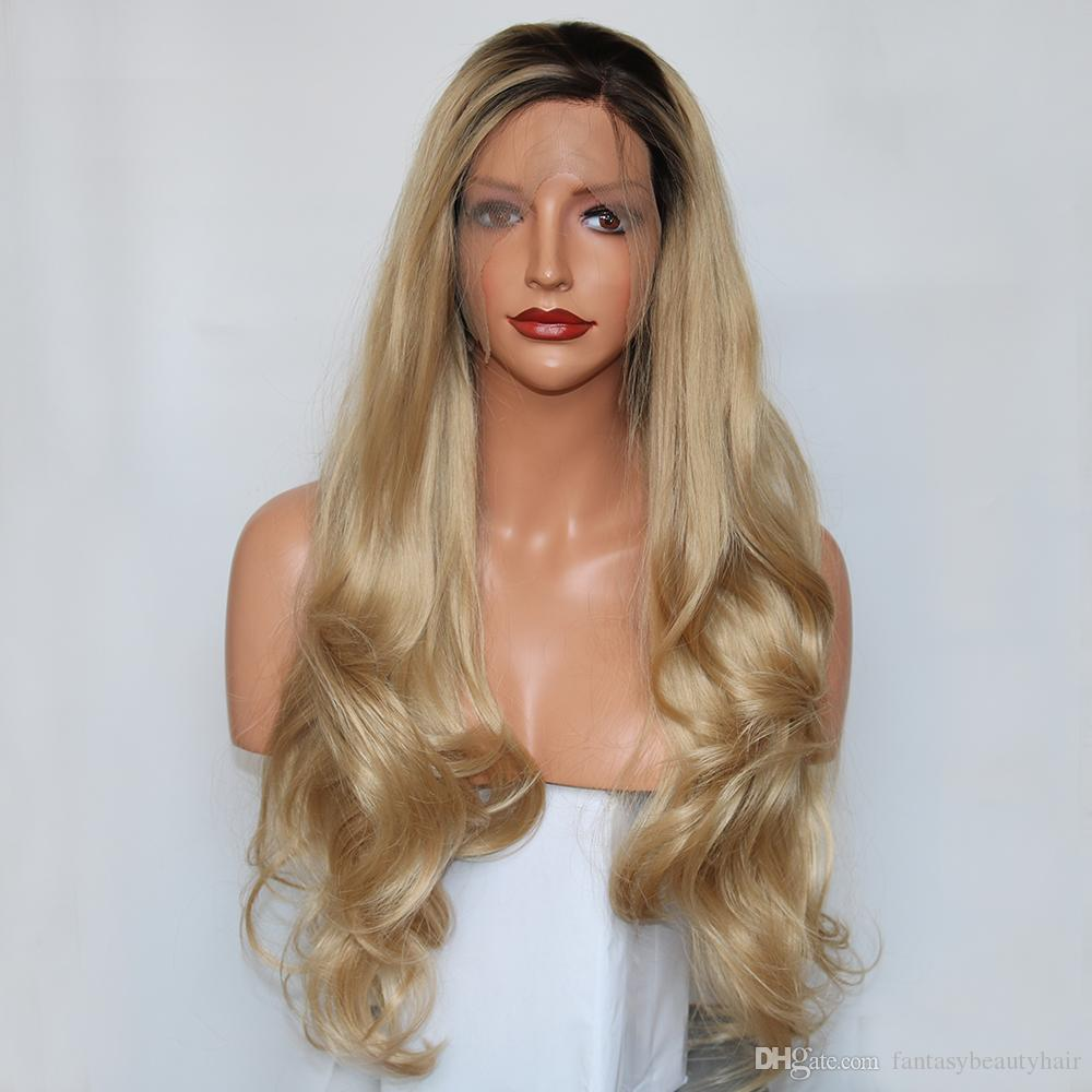 Fantasy Beauty Womens New Fashion Natural Looking Long Wavy Lace Front Wig  Ombre Honey Blonde Wig Synthetic Half Hand Tied Hair Hair Wig Price Full  Wigs ... b5ad759240