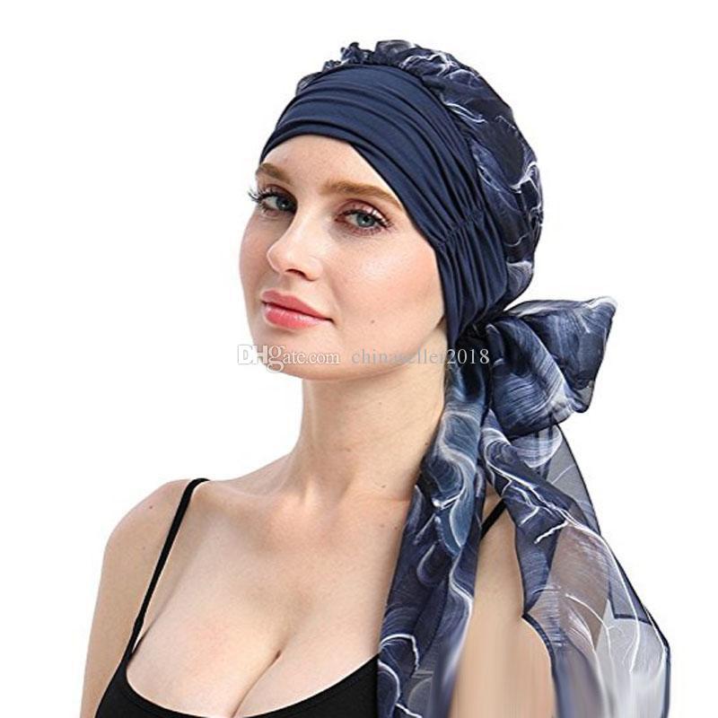 844d8a09aa2e5 2018 New Fashion Women Muslim Stretch Turban Chemo Hat Headwear Long Hair  Head Scarf Headwraps Cancer Hats Bandanas Hair Accessories Custom Beanies  Crochet ...
