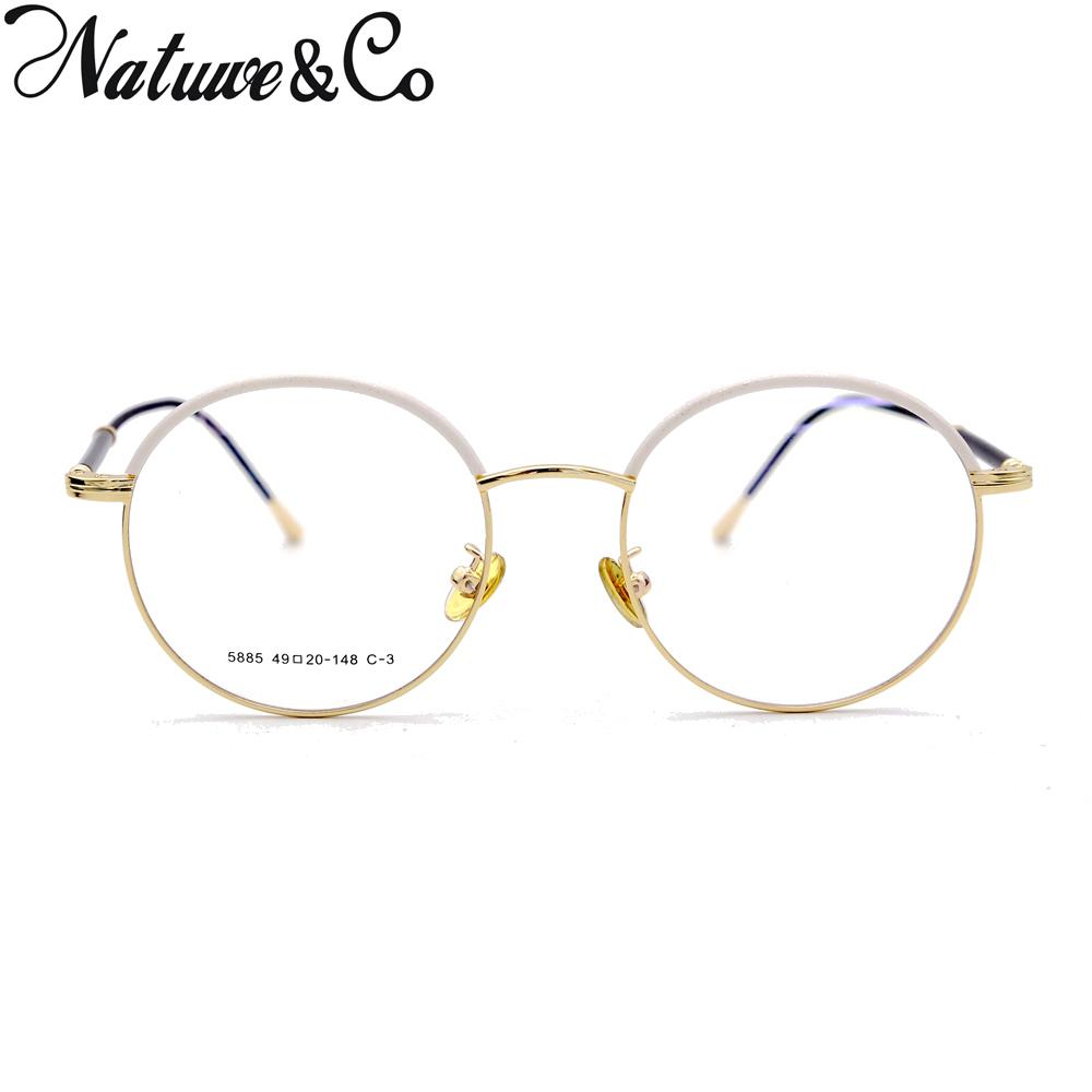 f73a355d742 2019 Natuwe Co Round Retro Eyeglasses Vintage Clear Lens Glasses Italy  Design 49 46 20 148 Mm From Dujuanflower