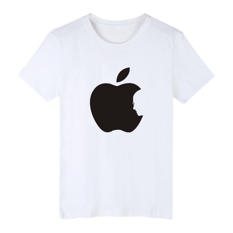 Hot Sale Apple Steve Jobs Black Cotton Tee Plus Size 4XL Short Sleeve T Shirts Men in Fashion Biting Apple Funny T-shirt XXS
