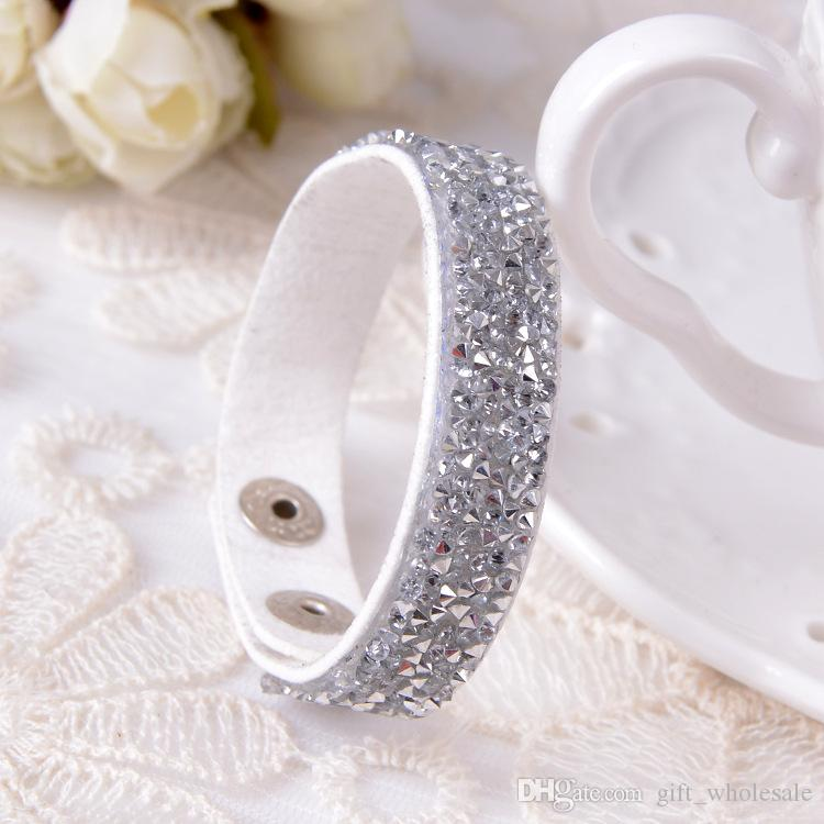 34 cores strass para trás multicamadas envoltório pulseira colorida pu flocking couro charme pulseiras pulseira mulheres presente de natal
