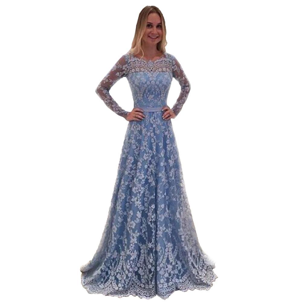 937660174b3b 2018 Elegant Dress For Wedding Women Fashion Sheer Lace Long Sleeve V Neck  Sexy Backless Dresses Lace Prom Maxi Party Dresses Long And Short Dress  Sundress ...
