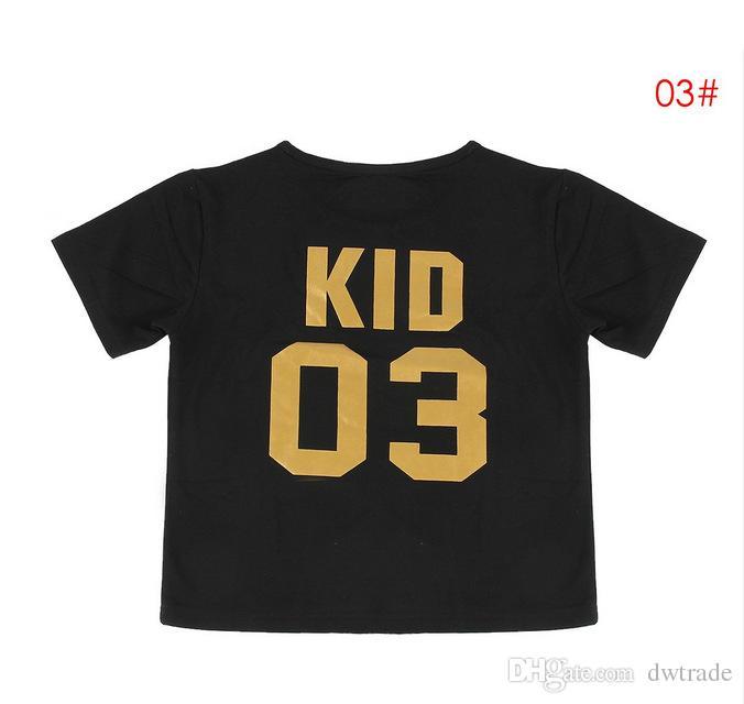 Divertenti abiti da abbinare alla famiglia Nero Golden Dad Mom Kid Bambino Numero di ordinamento T-shirt in cotone a maniche corte Interessante abbigliamento da famiglia caldo