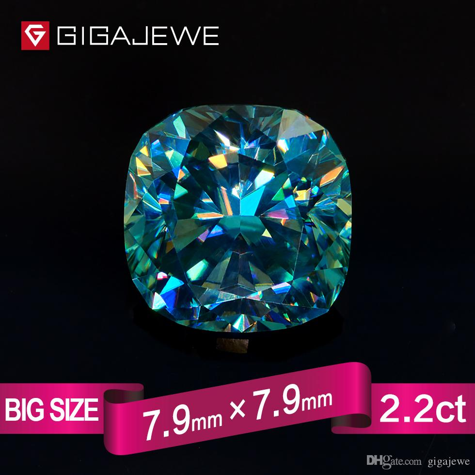 054720db1b8 2019 GIGAJEWE Excellent Quality Big Size Cut Cyan Blue Color 2.2ct Cushion  Moissanite Loose Stone Synthetic Beads For Jewelry Making From Gigajewe