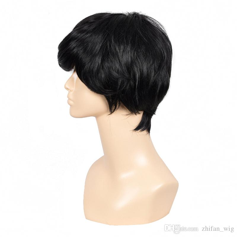 Z&F South Korea Style Nature Black Shot Synthetic Wigs 30CM High Temperature Fiber Hair Wigs For Men Women
