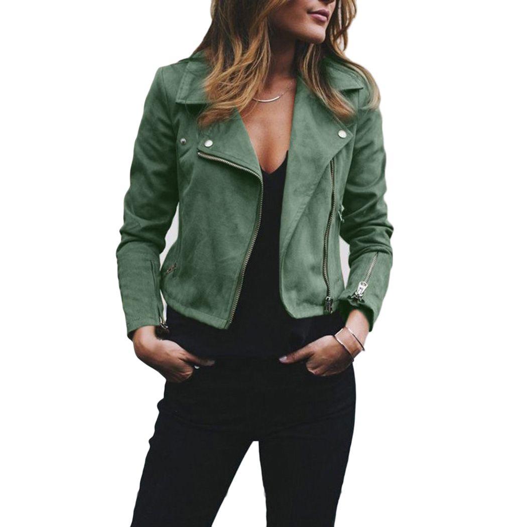 13353476 Womens Soft Suede Leather Jacket Cool Lapel Zipper Coat Biker Motorcycle  Jackets Autumn Winter Female Rivet Slim Outwear