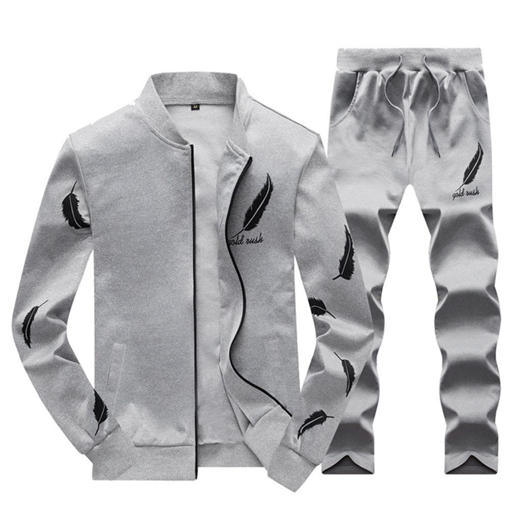 Mens Tracksuit Outwear Hoodie Set 2 Pieces Autumn Sporting Track Suit Male Fitness Stand Collar Sweatshirts Jacket+pants Sets Home