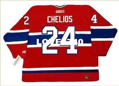 Mens  24 CHRIS CHELIOS Montreal Canadiens 1990 CCM RETRO Away Home ... f5e684a22