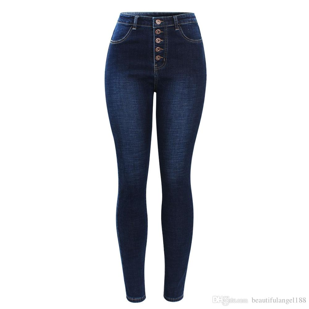 667df964f3e1e New Arrived High Waist Jeans For Women Stretchy Dark Blue Button Fly ...