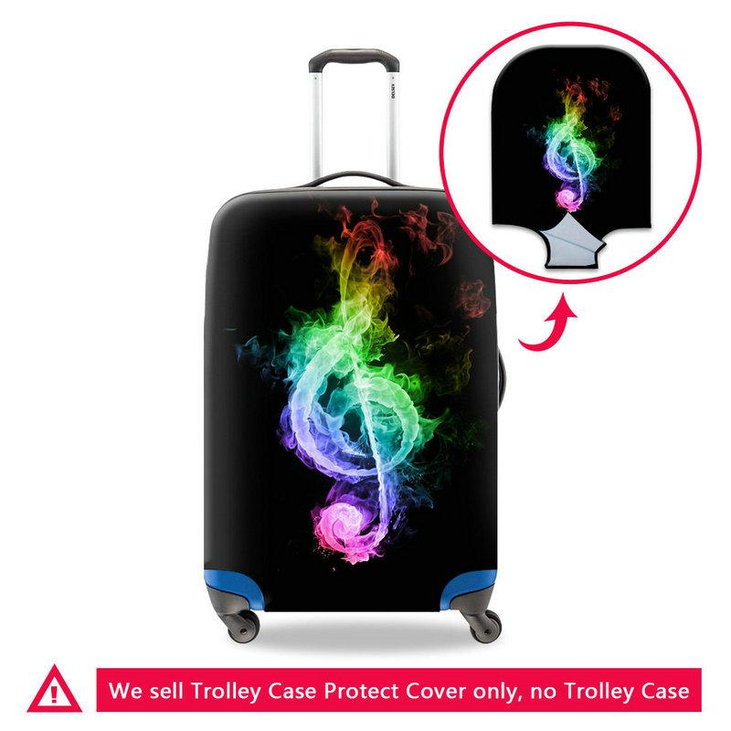 Stretch Elastic Luggage Protective Cover For 18-30 Inch Trolley Suitcase Case On Travel Baggage Musical Note Printing Waterproof Dust Covers