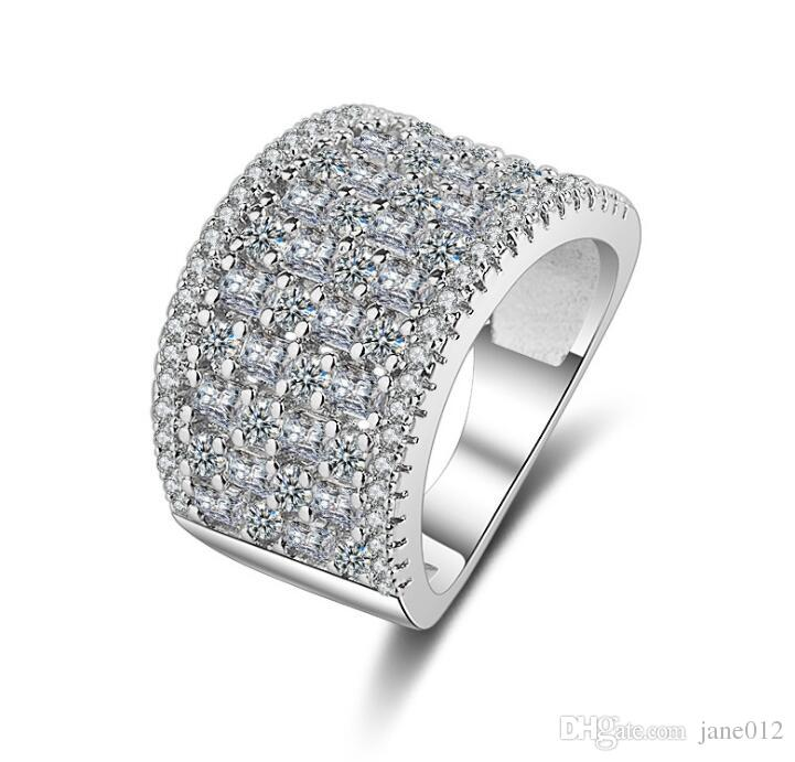 Micro Pave 3a Zircons CZ Diamond Platinum Plated Wide Rings Women Jewelry Best Selling Products in Europe and America