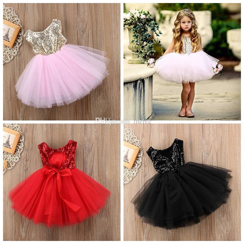 INS Summer nuevas chicas lentejuelas gasa tutu vestido de cuello redondo sin mangas chaleco vestido de fiesta bling tutu falda princesa niñas vestido de fiesta rojo rosa