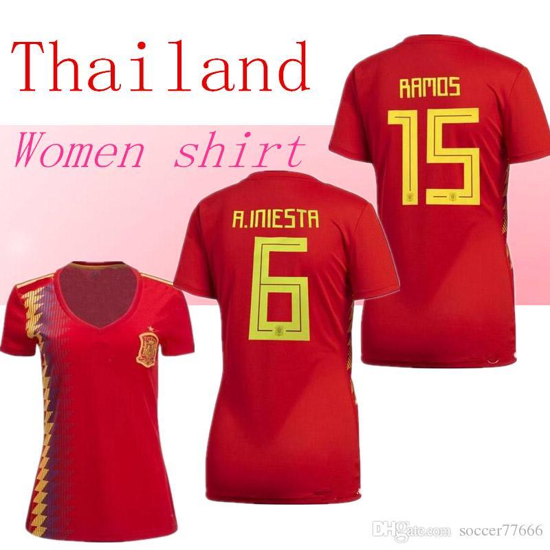 828bc7534 AAA 2018 Spain Women Soccer Jersey   6 A.INIESTA  22 ISCO  20 M ...