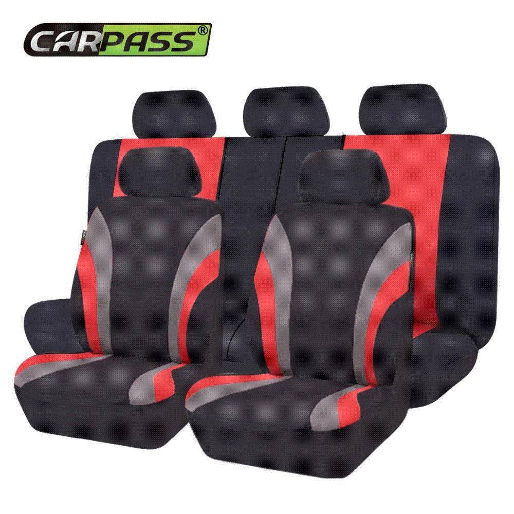 Car Pass New Colorful Sports Series Seat Covers Universal Styling Full Set Interior Airbag Compatible Support Toys Winter