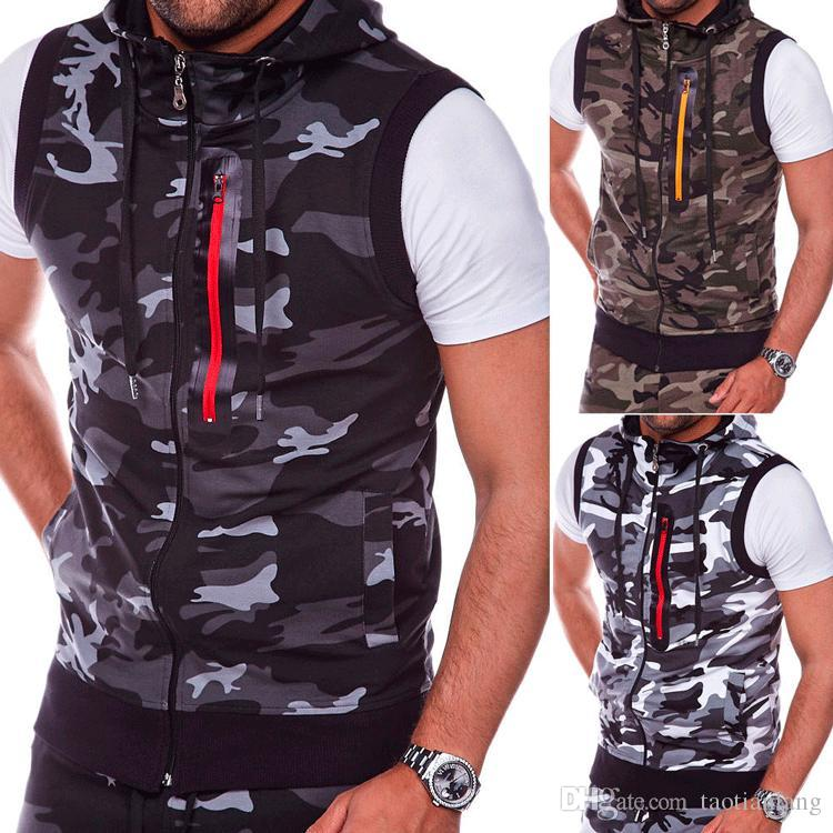 6060f2f8199e6 2019 New Vests For Man Summer Sleeveless Camouflage Fashion Zipper ...