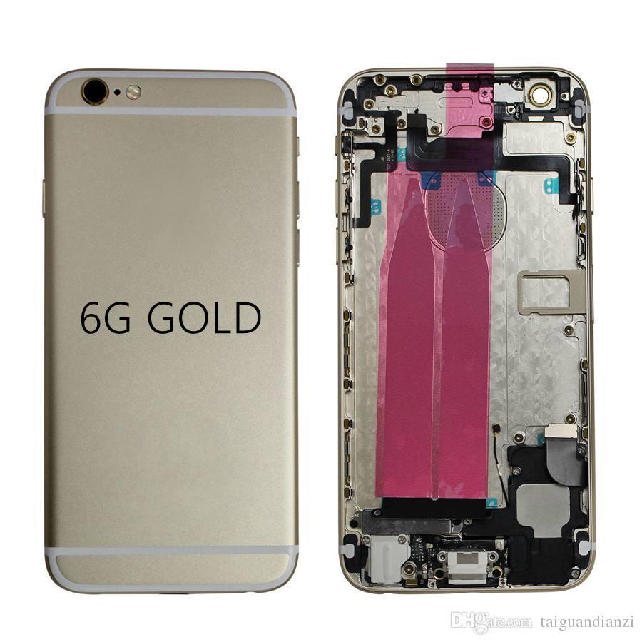 iPhone 6 6G Pil Kapı Kapak Kılıf Orta Çerçeve Şasi Vücut Yedek Siyah Gümüş Altın + IMEI için Geri Konut