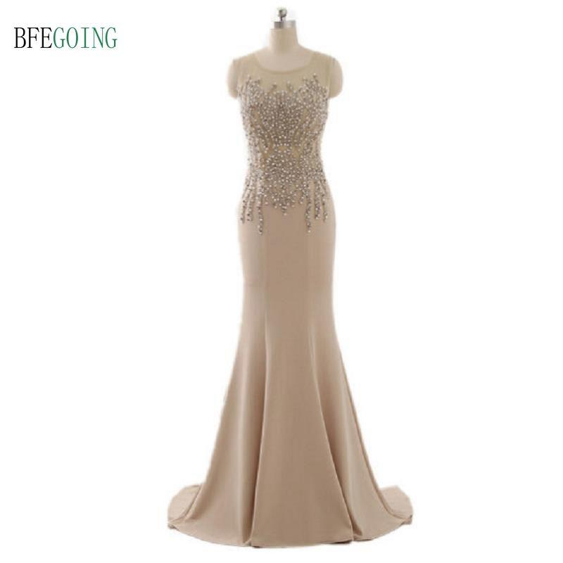 Champagne Real Photos Mermaid Scoop Spandex Appliques Beaded And Pearls Evening Gowns Tulle Illusion Sexy Back Sweep Train Evening Dress
