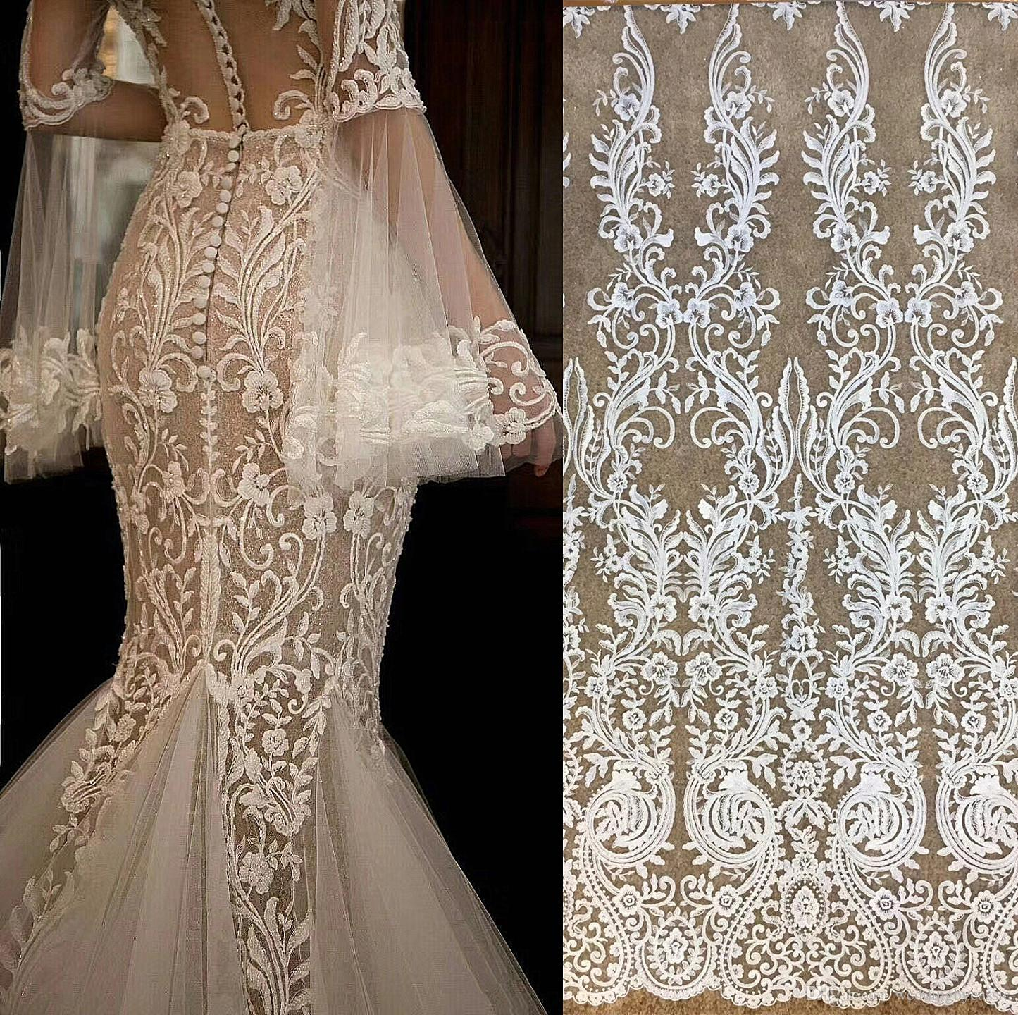 White French Vintage Fabric Embroidery Lace Wedding Dress