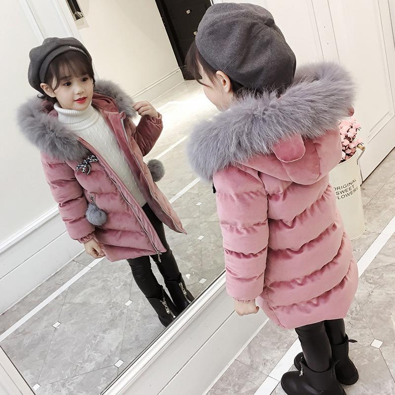 fa6f6d1e37fc 2018 New Pattern Girl Pleuche Cotton-padded Clothes Children Down ...