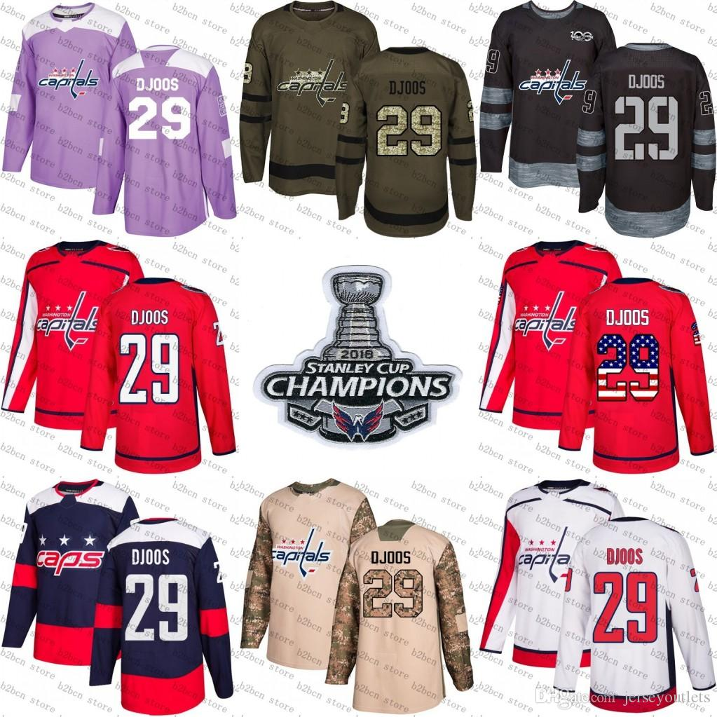 b6952558fde 2019 2018 Stanley Cup Champions 29 Christian Djoos Washington Capitals  Green Red USA Flag Purple Fights Cancer Practice Camo Veterans Day Jerseys  From ...