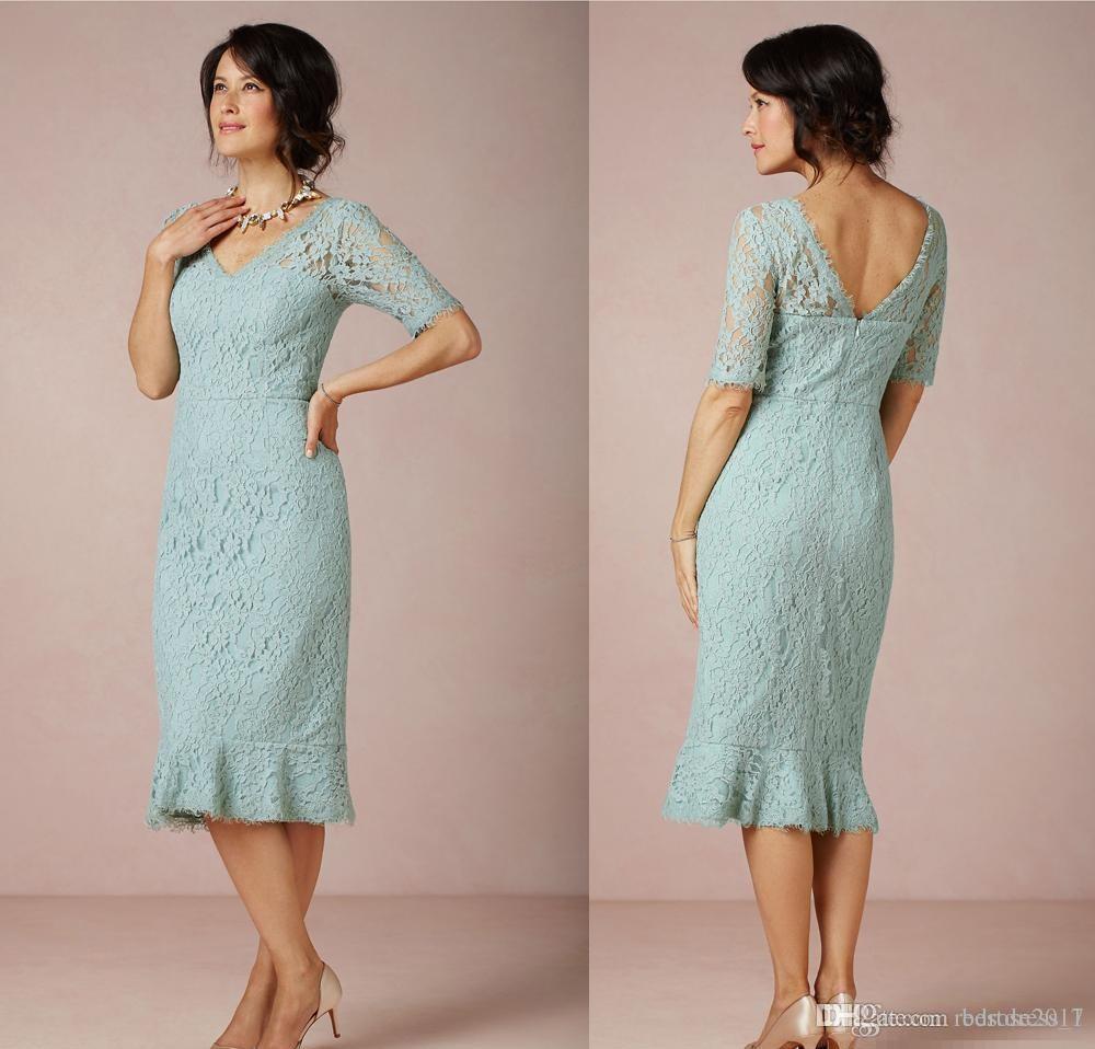 Elegant Short Lace Mother Of The Bride Dresses V Neck Tea Length ...