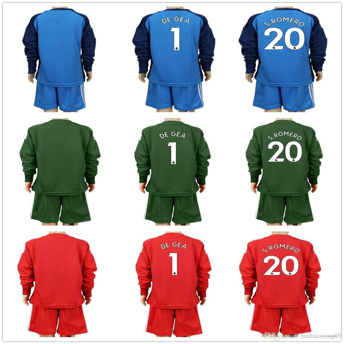 2018 youth long de gea goalkeeper jerseys kids long kit soccer sets 1 david de gea kid goalkeeper jerseys children romero boys uniform maillot de foot