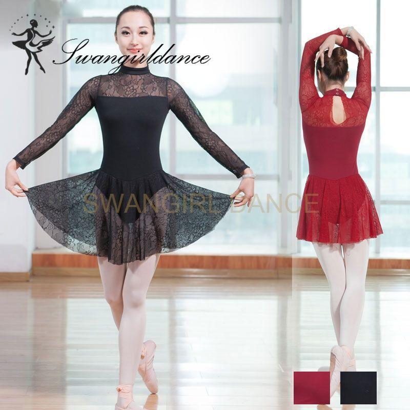cd2ca038e0bdc 2019 Girls Long Sleeves Mock Turtleneck Dance Lyrical Dress Leotards Women  Dance Training Gymnastics Lace Skirted Ballet Leotards CS0193 From  Swangirl, ...