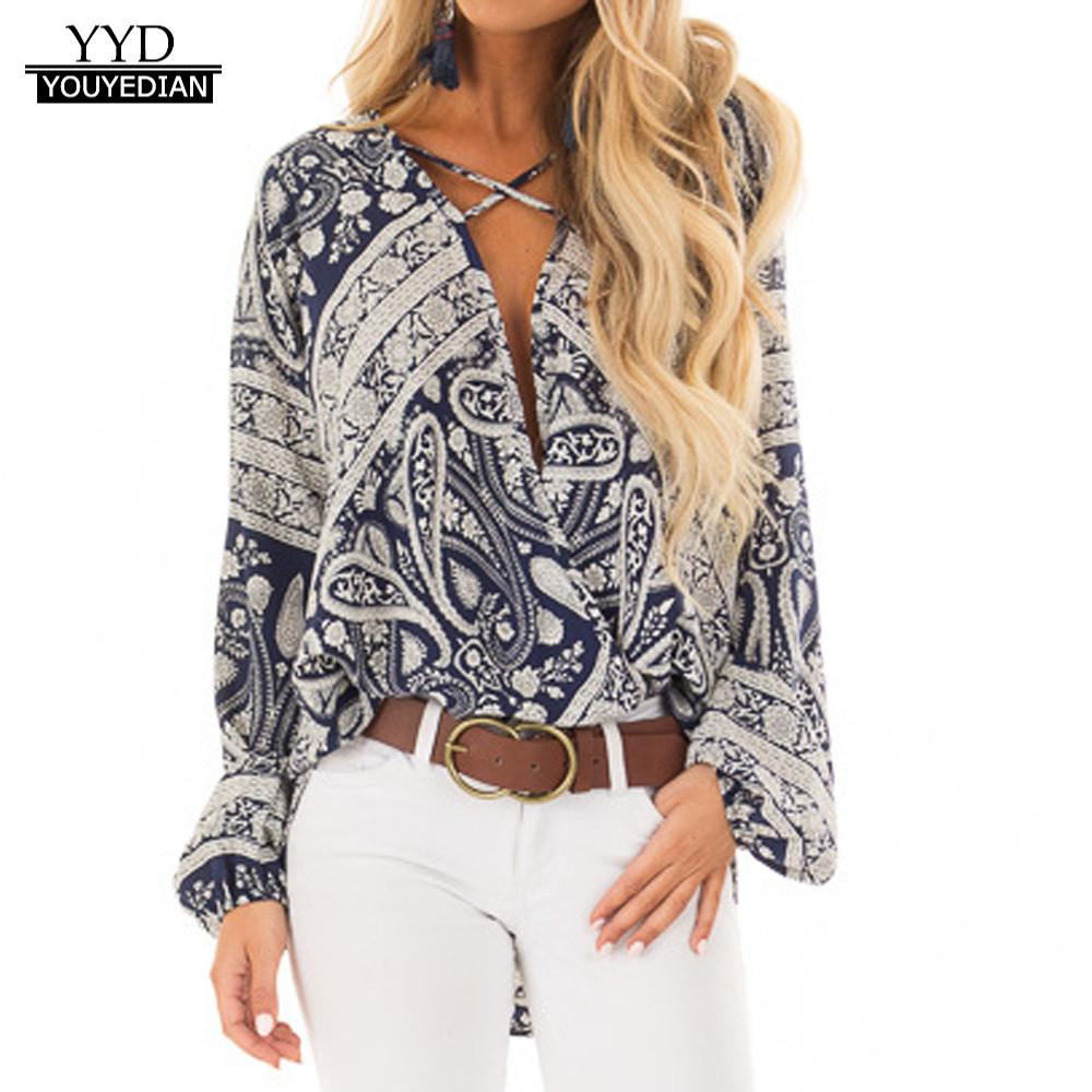 c516a303987081 Großhandel Herbst Kleidung Frauen V Ausschnitt Langarm Chiffon Print Mode  Bluse Shirt Tops Frauen Mode Blusen Blusas Mujer De Moda 2018 Von  Manxinxin, ...