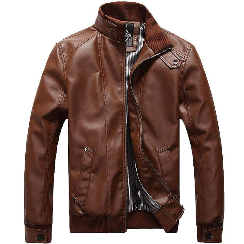 2019 Hot Sale Leather Jacket Men Design Stand Collar Male Casual