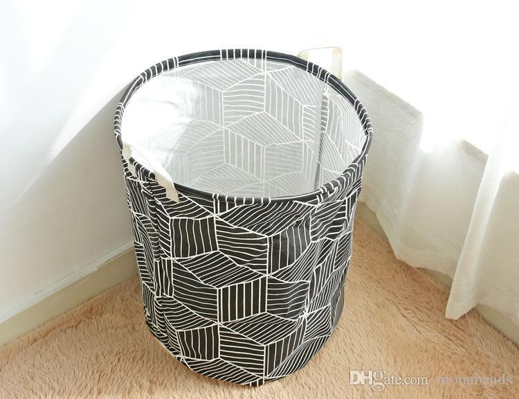 Saco de Cesta de lavanderia Padrão Geométrico Dobrável Multi-função Roupas para Casa Meias Organizador Saco de Lavanderia Crianças Brinquedo Cestas De Armazenamento